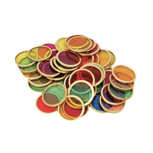 Imagen de 100 discos de colores con aro metálico