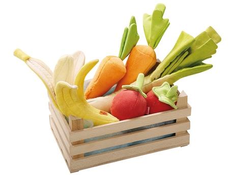Imagen de Caja fruta y verdura juguete - Tela y madera