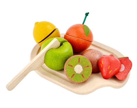 Imagen de Frutas y verduras de madera para cortar