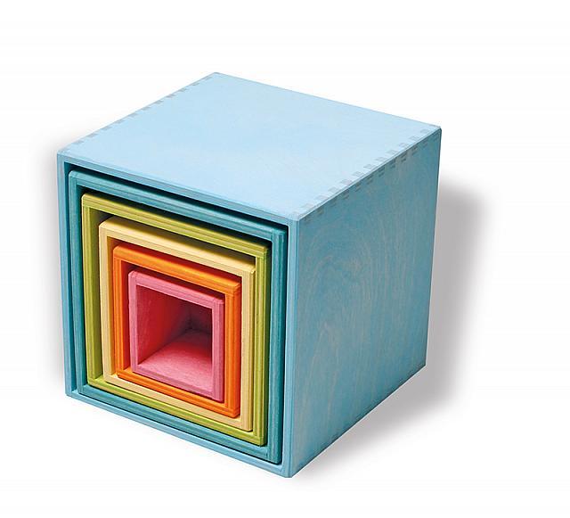 Imagen de Cubos apilables madera pastel Grimm's