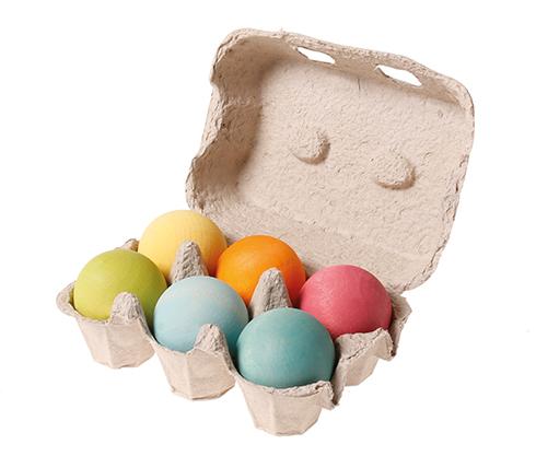 Imagen de Bolas de madera en huevera pastel-  Grimm's