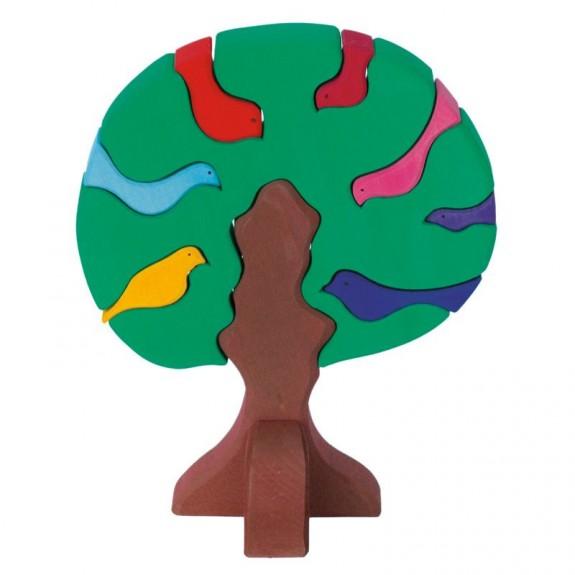 Imagen de Puzzle de madera Arbol y pájaros de colores