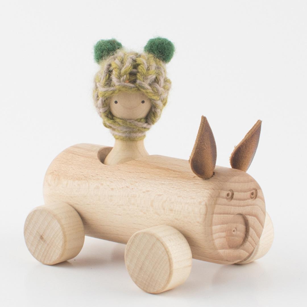 Imagen de Coche de madera Cerdito