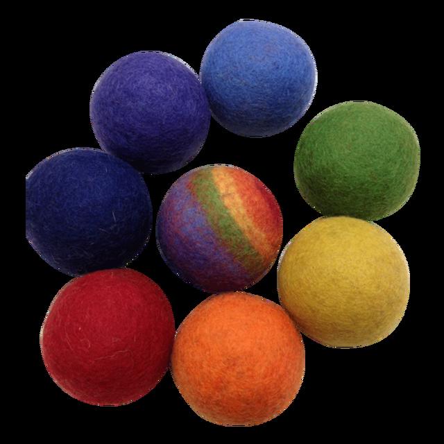 Imagen de Bolas arcoiris de fieltro- pack de 8 piezas